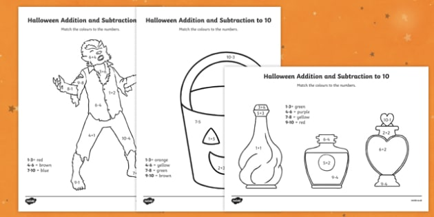 Halloween Themed Addition and Subtraction to 10 Colour by Number