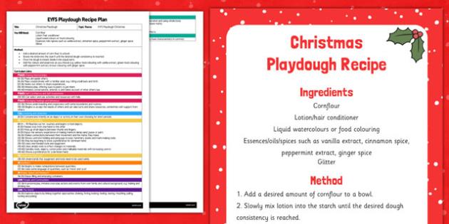 EYFS Christmas Playdough Plan and Recipe Pack - playdough, recipe