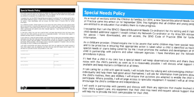 Special Needs Policy for Childminders - childminders, policy