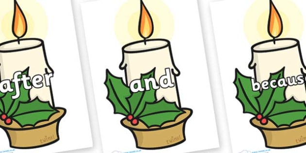 Connectives on Christmas Candles - Connectives, VCOP, connective resources, connectives display words, connective displays