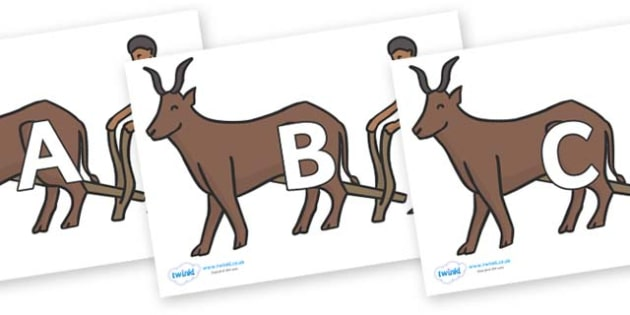 A-Z Alphabet on Egyptian Ox - A-Z, A4, display, Alphabet frieze, Display letters, Letter posters, A-Z letters, Alphabet flashcards