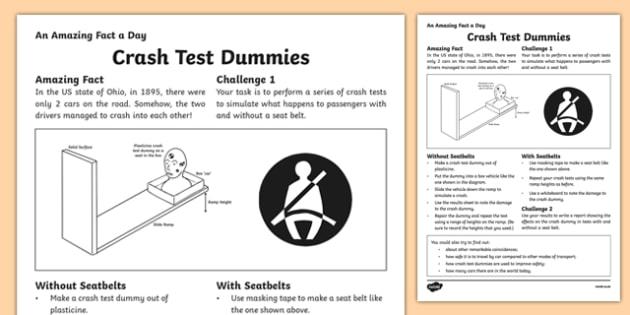 Crash Test Dummies Activity Sheet, worksheet
