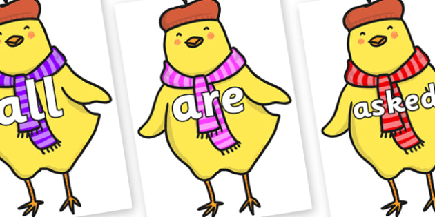 Tricky Words on Chicken Licken - Tricky words, DfES Letters and Sounds, Letters and sounds, display, words