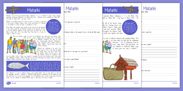 Matariki Differentiated Reading Comprehension Activity - Matariki, Maori New Year celebrations, Maori