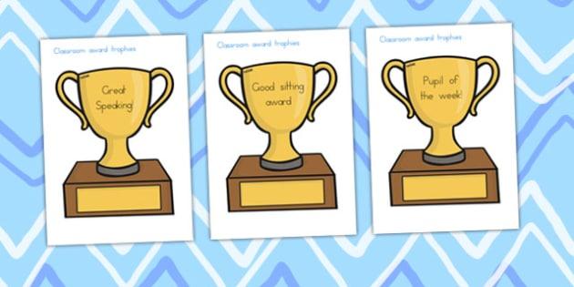 Classroom Award Trophies - award, reward, trophie, certificate