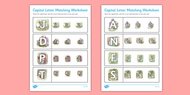 Beatrix Potter - The Tale of Tom Kitten Themed Capital Letter Matching Worksheet - beatrix potter, tom kitten