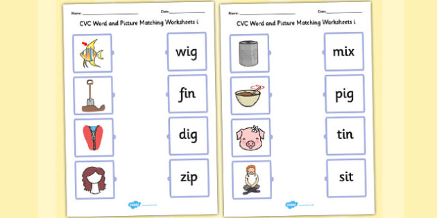 CVC Word and Picture Matching Worksheets i - cvc, matching, i