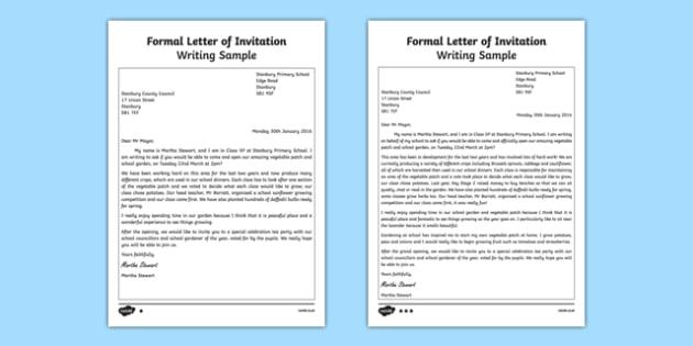 Formal Letter of Invitation Writing Sample