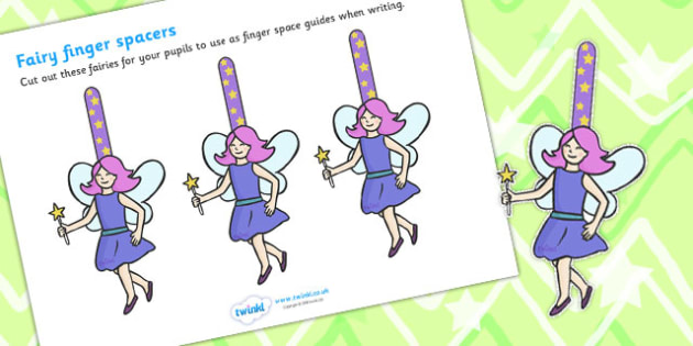 Writing Finger Spacers fairy - education, home school, free, how