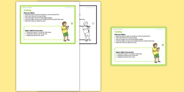 Foundation PE (Reception) - Catching Teacher Support Card - EYFS, PE, Physical Development
