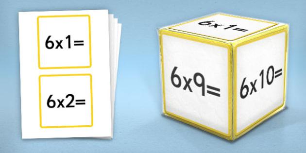 Giant Foam Dice Squares 6 Times Tables - foam dice, squares, 5