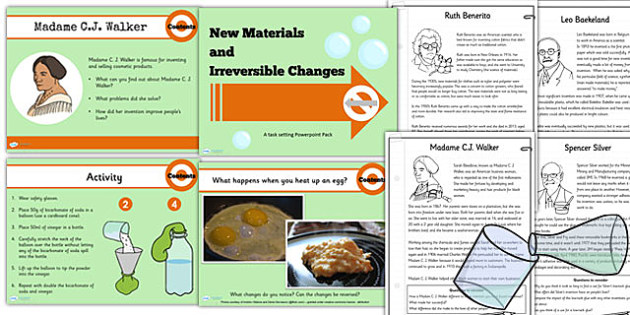Year 5 Science New Materials and Irreversible Changes Lesson Pack