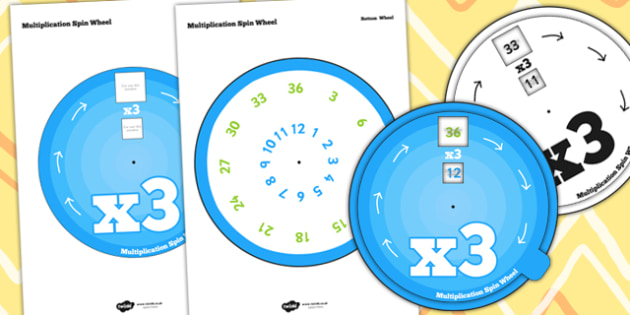 Multiplication Spin Wheel 3 - multiplication, wheel, 3 times