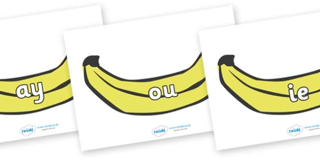 Phase 5 Phonemes on Bananas - Phonemes, phoneme, Phase 5, Phase five, Foundation, Literacy, Letters and Sounds, DfES, display