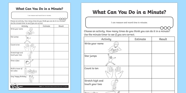 What Can You Do in a Minute? Activity Sheet - Measurement, timer, time, minute, measure, year 1, worksheet, measuring