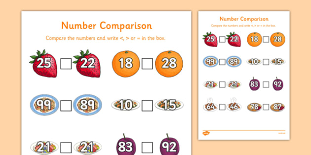 Food Themed Number Comparison Sheet - food, number comparison, number, comparison