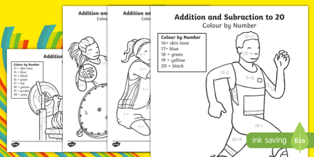 Paralympics Addition and Subtraction to 20 Colour by Number