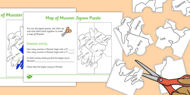 Map of Munster Jigsaw Puzzle - map, munster, jigsaw, puzzle, activity, game