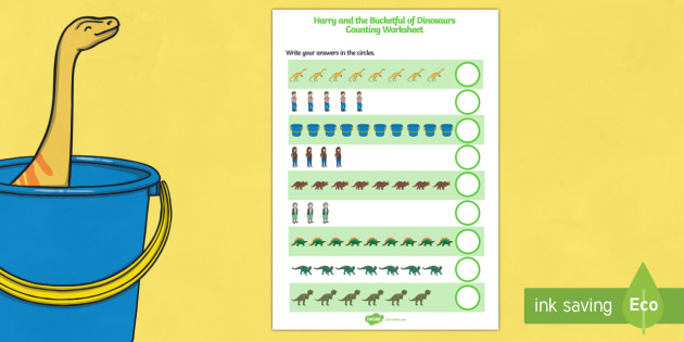 Counting Sheet to Support Teaching on Harry and the Bucketful of Dinosaurs - counting