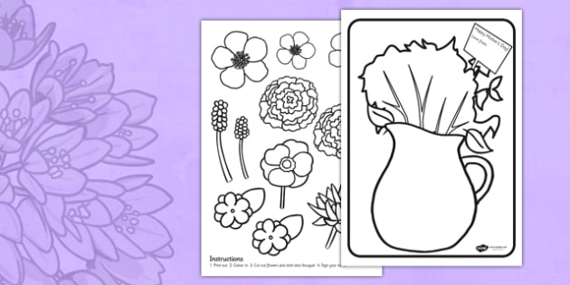Mothers Day Flower Bouquet Coloring Activity - mothers day