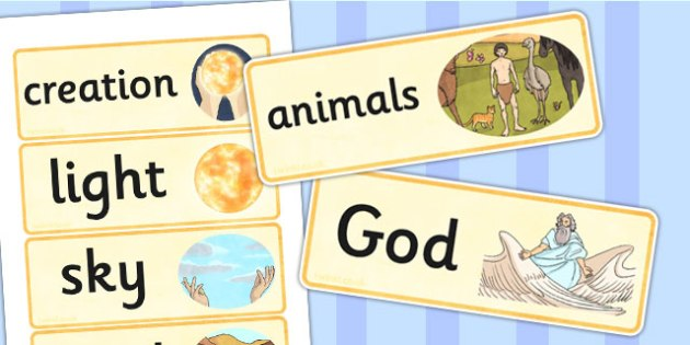 Jewish Christian Creation Story Word Cards - religion, visual aid