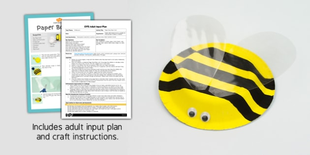 Paper Bowl Bee Craft EYFS Adult Input Plan and Resource Pack - craft, pack