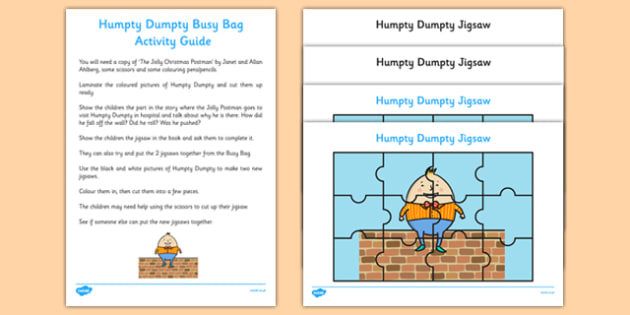 Humpty Dumpty Busy Bag Resource Pack for Parents - Nursery Rhymes, Jigsaws, EYFS