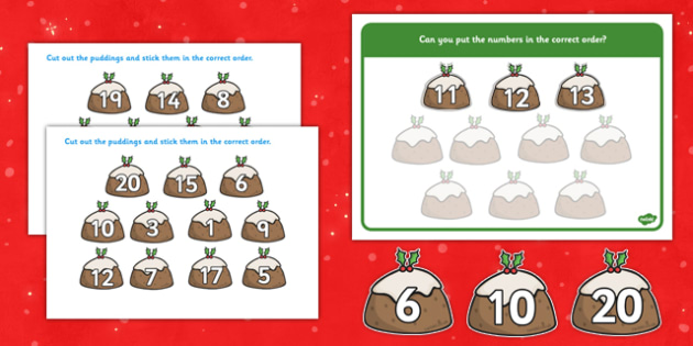 Christmas Number Ordering Activity 0-20 Christmas Puddings - christmas, number, ordering, activity, christmas pudding