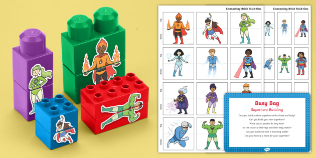 Superhero Building Activity Busy Bag Prompt Card and Resource Pack - Blocks, superhero, matching