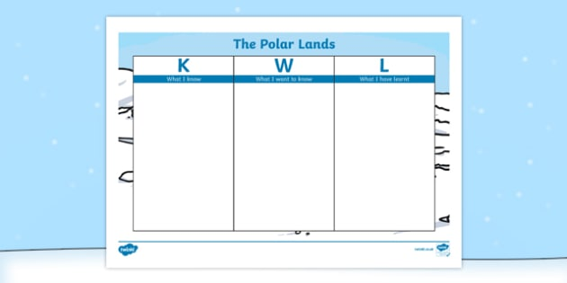The Polar Lands KWL Grid - the polar lands, polar regions, arctic, antarctic, kwl grid, kwl, grid, know, want, learn