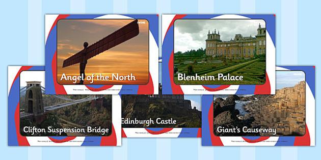 Landmarks Of The British Isles Display Photos - landmarks, landmarks of the British Isles, British Isles, display, photo, poster, images, Angel of the North, Edinburgh Castle, Giants Causeway, nature, sites