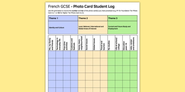 GCSE Français Carte photo Feuille d'enregistrement pour étudiants - french, GCSE, Photo Card, Record Log, Student