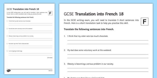 GCSE French: Translation into French -  Foundation Tier Activity Sheet 18, worksheet