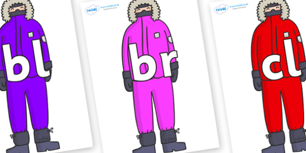 Initial Letter Blends on Arctic Explorers - Initial Letters, initial letter, letter blend, letter blends, consonant, consonants, digraph, trigraph, literacy, alphabet, letters, foundation stage literacy