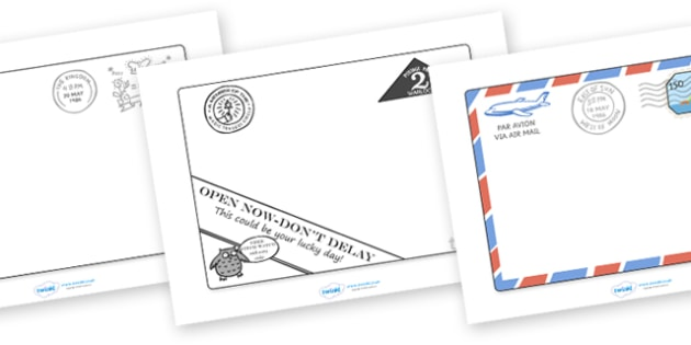 Editable Letters to Support Teaching on The Jolly Postman - blue, postman, jolly, letter, Janet Ahlberg, Cinderella, story, story book, book resources, Three Bears, wolf, gian, goldilocks, postcard, witch, palace
