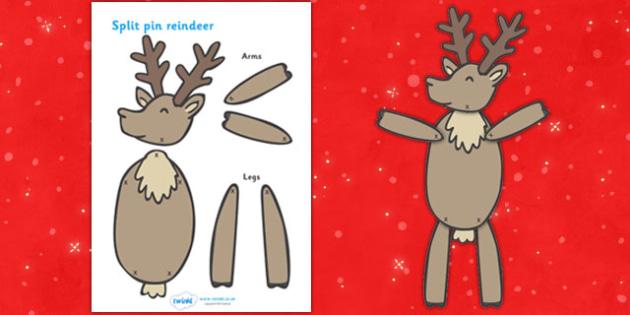 Split Pin (Reindeer) - split pin, reindeer, christmas, activity, creativity, xmas, rudolf, dancing, moving, puppets