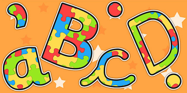 We All Fit Together Jigsaw Puzzle Themed Display Lettering
