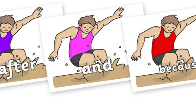 Connectives on Long Jump - Connectives, VCOP, connective resources, connectives display words, connective displays