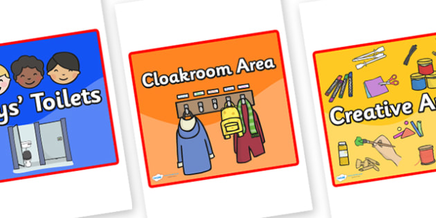 Editable Square Classroom Area Signs - Coloured Background (Red Border) - Classroom Area Signs, KS1, Banner, Foundation Stage Area Signs, Classroom labels, Area labels, Area Signs, Classroom Areas, Poster, Display, Areas