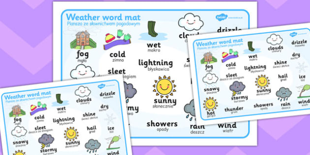 Weather Word Mat Polish Translation - polish, weather, word mat