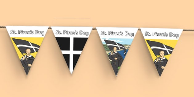 St. Piran's Day Bunting -UK, geography, celebration, saint, cornwall, festival