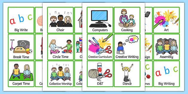 KS2 Visual Timetable - KS2, key stage two, key stage 2, visual timetable, visual aid, visual cards, word cards, flash cards, words, key words, keywords