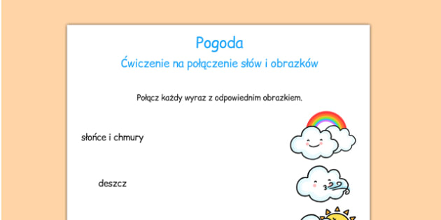 Dopasowanie wyrazów i obrazków Pogoda po polsku - przedszkole