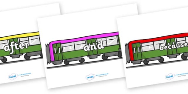 Connectives on Trains - Connectives, VCOP, connective resources, connectives display words, connective displays