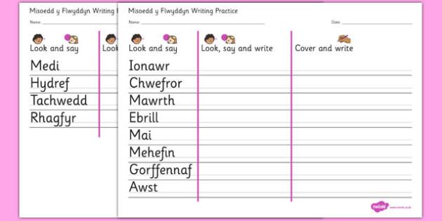 Misoedd y Flwyddyn Writing Practice Worksheets Cymraeg - cymraeg,  months, year, writing, practice, worksheets