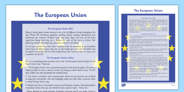 The European Union Information Sheet - Social Studies, Europe, EU, Aims, economy, society, cross-curricular
