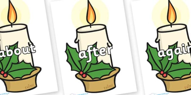 KS1 Keywords on Christmas Candles - KS1, CLL, Communication language and literacy, Display, Key words, high frequency words, foundation stage literacy, DfES Letters and Sounds, Letters and Sounds, spelling