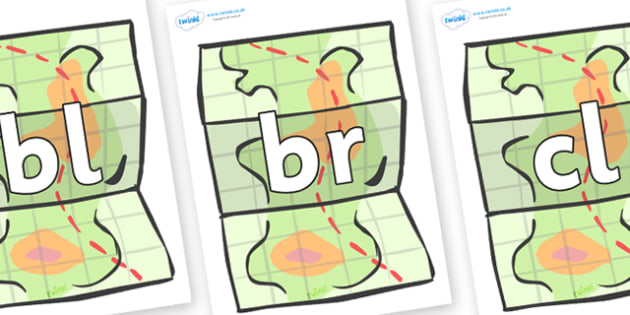 Initial Letter Blends on Maps - Initial Letters, initial letter, letter blend, letter blends, consonant, consonants, digraph, trigraph, literacy, alphabet, letters, foundation stage literacy