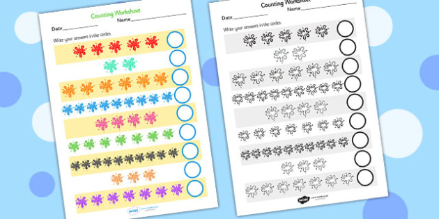 Splat Counting Worksheet - splat, counting, worksheets, numbers