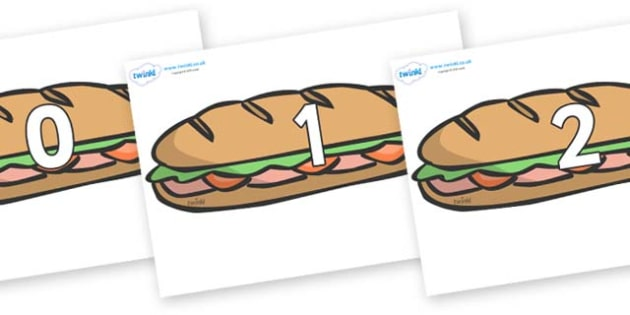 Numbers 0-31 on Sandwiches - 0-31, foundation stage numeracy, Number recognition, Number flashcards, counting, number frieze, Display numbers, number posters